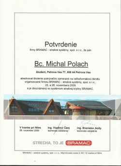Bramac - Certifikát