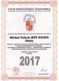 Certifikát - Cech Strechárov Slovenska 2017