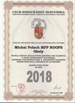 Certifikát - Cech Strechárov Slovenska 2018