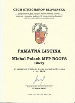 Certifikát - Pamätná listina Cech Strechárov Slovenska 2017