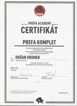 Certifikát Prefa - Dušan Hromek
