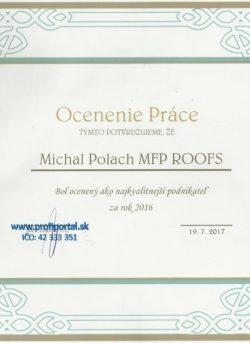 Certifikát ocenenie práce Profiportal