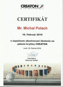 Creaton - Certifikát