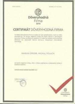 Dôveryhodná-firma-2015---Certifikát
