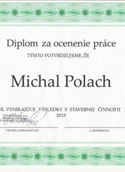 Diplom za ocenenie práce 2015 - Certifikát