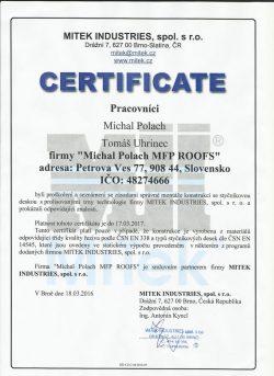 Mitek Industries - Certifikát