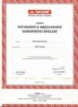 Satjam - Certifikát