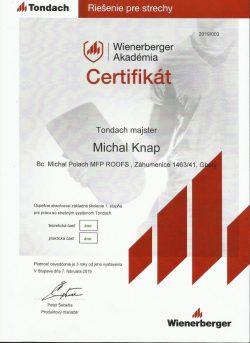 Tondach certifikát - Michal Knap