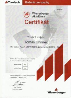 Tondach certifikát - Tomáš Uhrinec