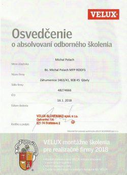 Velux - Certifikát